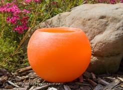 Gartenkerze Outdoorkerze Kugel Romantik 15cm orange