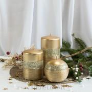 Stumpen Kugel Kerzen patiniert Glitzer Gold