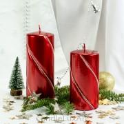 Stumpen Kerzen gedrehte Kristalle 7x14 und 7x17,5cm Metallic Rot