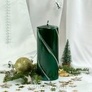 Stumpen Kerzen gedrehte Kristalle 7x17,5cm Metallic Grün