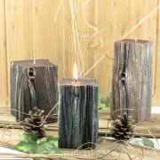 Kerzen Sandelholz Baumstumpf Braun 3 Varianten 14-20cm