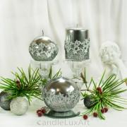 Stumpen Kugel Kerzen Hochglanz Metallic Sternenmuster Silber