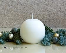 Kugelkerze matt weiß 8cm - 100% Stearin
