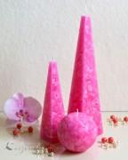 Mosaik Pyramidenkerze 25cm - pink