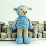 Schaf beige blau 26cm  Amigurumi Handmade