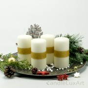 4 Stumpen Kerzen creme 1 Goldstreifen 12cm