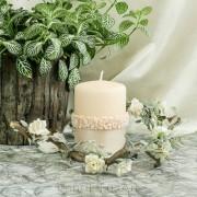 Stumpen Kugel Kerzen Rosenkranz Perlmutt lachs