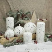 Stumpen Kugel Kerzen Schneeoptik Glitzer Sterne weis