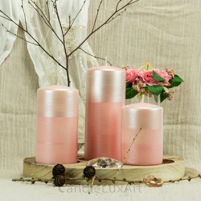 Stumpen Kerzen Satin Perlmutt 7x 10/14/18cm Rosa