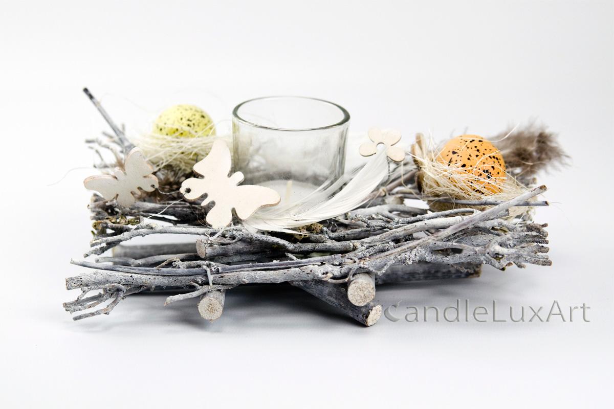 Nest Zu Ostern Weis Kerzenshop Candleluxart Als Tischdeko Fur