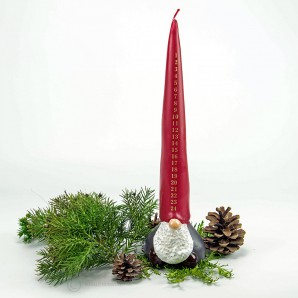 Adventskalender Weihnachtskerze Zwerg  - 33cm