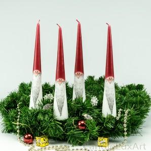 4 Tafelkerzen Adventskerzen Weihnachtsmann 25cm