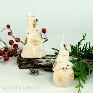 Birkenzwerge 2 Varianten Weihnachtskerze creme