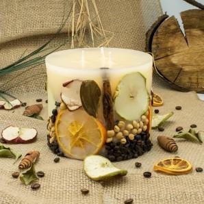 3 Docht Stumpenkerze Früchte 15x12cm Duftkerze  Vanille