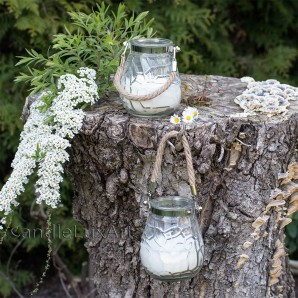 Oudoor Gartenkerzen im Vasen-Glas mit Kordel weiß