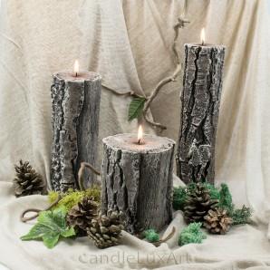 Kerzen Duftkerze Baumstumpf 3 Varianten 13-26cm