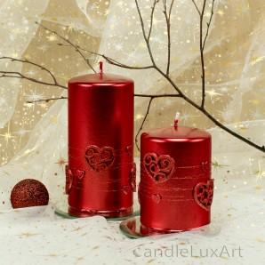 Stumpen Kerzen Perlmutt mit Herzen 7x10 und 7x14cm Rot