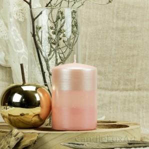 Stumpen Kerzen Satin Perlmutt 7x10cm Rosa