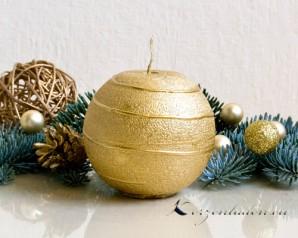 Kugelkerze Gold mit Spirale - 8cm