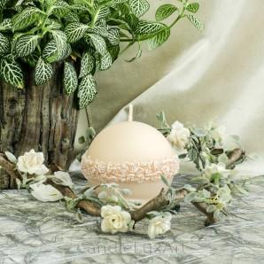 Kugel Kerzen Rosenkranz Perlmutt lachs 8cm