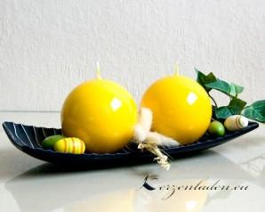 Kugelkerze Hochglanz lackiert - 8cm - gelb