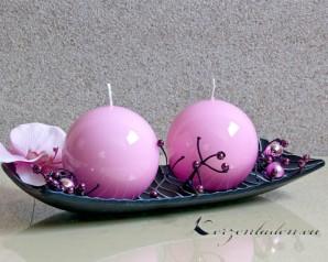 Kugelkerze Hochglanz lackiert - 8cm - rosa