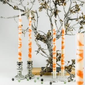 4  Leuchterkerzen creme Dekor orange 35cm