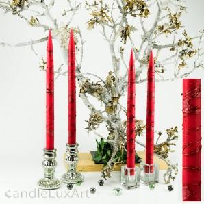 4  Leuchterkerzen rot Dekor rot 35cm