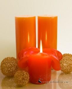 Lotuskerze Orangenduft 18cm orange