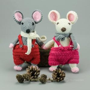 Das Mäusepaar 20cm Strickware Handmade