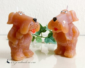 Figurenkerze Hund - Dogge Comic - braun 10cm