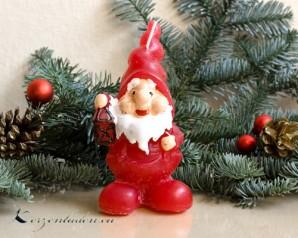 Zwerg mit Laterne Weihnachtskerze - 13cm