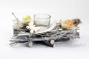 Natur Ostergesteck Reisig 20cm mit Teelicht