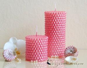 Stumpenkerze Perlen 7cm rosa