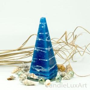 Pyramidenlkerze Tropfendesign - 15cm - blau weis