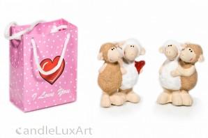 Keramik Schaf Paar Love mit Tasche - 10cm