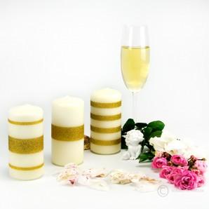 Mix Stumpen Kerzen creme - Goldstreifen - 12cm