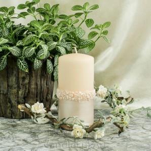 Stumpen Kerzen Rosenkranz Perlmutt lachs 7x14cm