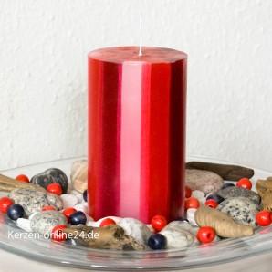 Stumpenkerze - Streifen 12cm 3 farbig rot/weiß/bordo