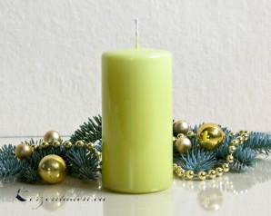 Stumpenkerze Hochglanz lackiert hellgrün - 12cm