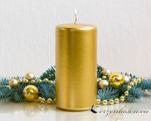Stumpenkerze Adventskerze Gold - 7 x 15cm