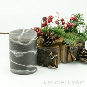 Stumpenlkerze Tropfendesign - 10cm - grau weis