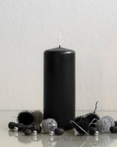 Stumpenkerze Matt Schwarz - 6 x 15cm