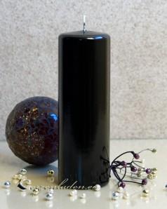 2. Wahl Stumpenkerze Hochglanz lackiert schwarz - 18cm