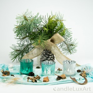 Teelichtgläser Set Winterlandschaft