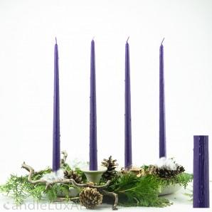 4 Tafelkerzen Spitzkerzen Leuchterkerzen gekratzt - lila 38cm