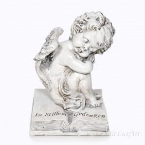 Trauer Engel auf Buch sitzend mit Aufschrift 19cm