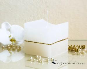 Würfelkerze Rustikal Goldstreifen - creme/weiß