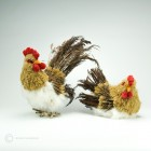 Natur Hahn und Henne Aeste Jutte  13-19cm