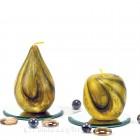 Kerze Apfel und Birne handgeknetet gelb 7,5-12cm